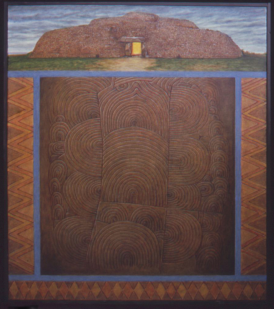 Celebration of the Gavrinis Cairn. Oil on canvas, 1993. 40 X 45 inch.   By John Palmer.  This image may not be reproduced without permission from the artist.