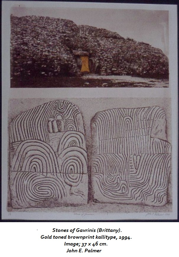 Stones of Gavrinis. Brownprint (alternative photographic process) Image ca 14 X 18.  John Palmer (this image may not be reproduced without permission of the artist.)