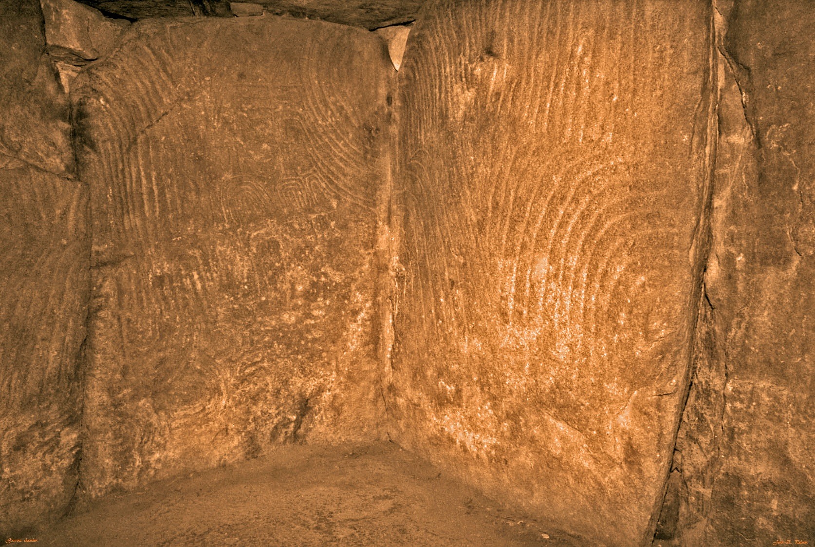Decorated Stones in the Chamber.     Photo copyright: John Palmer