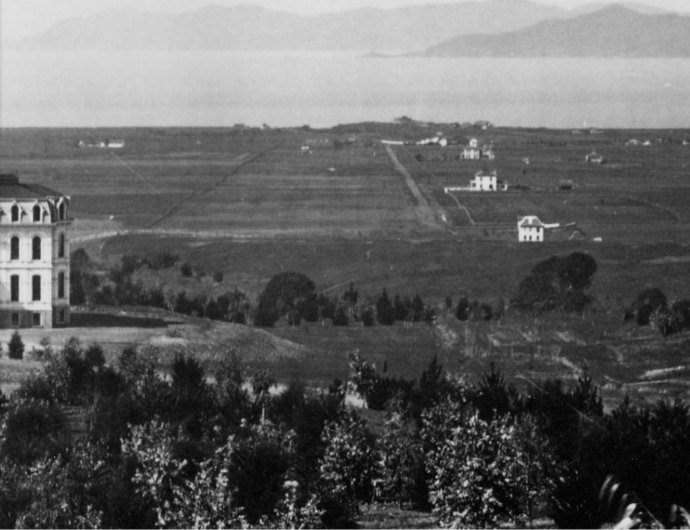 View of West Berkeley circa 1873 showing the shellmound covered with willows. Photo courtesy of Richard Swartz via the California State Library