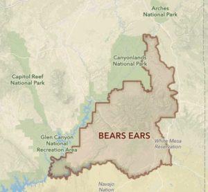Map of Bears Ears location in Utah