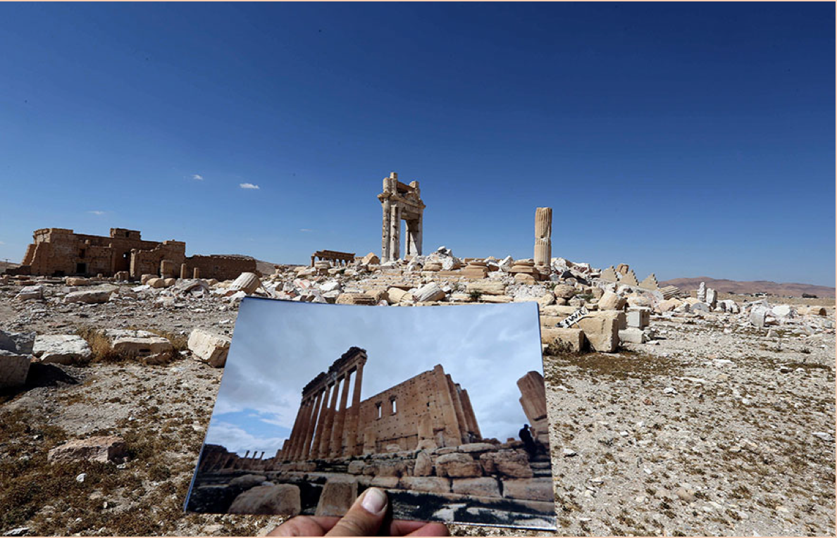 Temple of Bel before and after destruction by ISIL in 2015