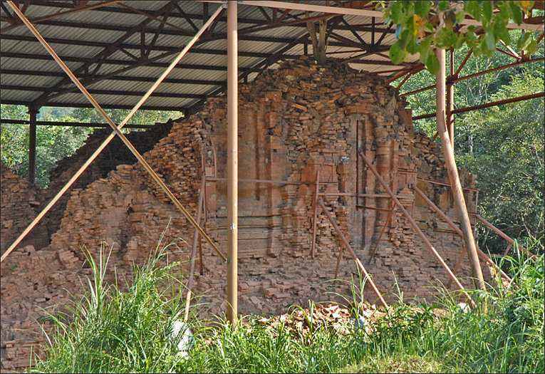 Temple Damaged by U.S. Bombing During the Vietnam War Photo by Pierre Dalbera